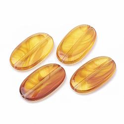 Perles acryliques, ambre d'imitation, ovale, orange, 29x16x4.5mm, Trou: 1.2mm(X-OACR-N001-12)