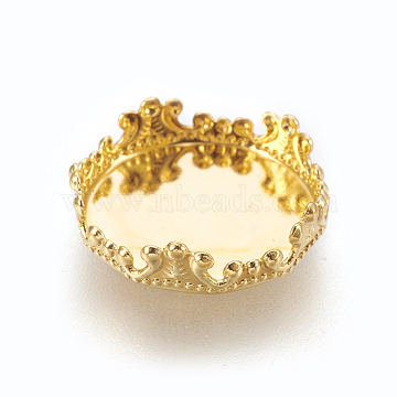 Brass Lace Edge Bezel Cups, Cabochon Settings, Golden, Tray: 15mm, 16x4.5mm(X-KK-F762-05G)