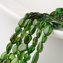 """Diopside naturelles brins de perles, puces, 6~12x5~8x4~6mm, trou: 1 mm; environ 15.7""""(G-M347-17)"""