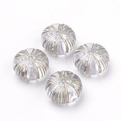 Perles acryliques transparentes, métal doré enlaça, rondelle / citrouille, clair, 12x7mm, Trou: 1mm(X-PACR-Q115-47)