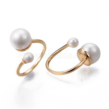 Brass Cuff Finger Rings, Open Rings, with ABS Plastic Imitation Pearl, Nickel Free, Real 18K Gold Plated, Size 9; 2mm, Inner Diameter: 19mm(KK-R116-047-NF)