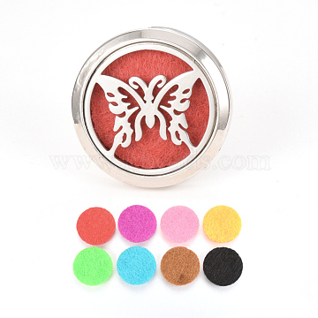 Alloy Car Diffuser Locket Clips, with Butterfly 304 Stainless Steel Findings and Random Single Color Non-Woven Fabric Cabochons inside, Magnetic, Flat Round, Random Single Color, 36.5x30.5mm(AJEW-Q224-02)