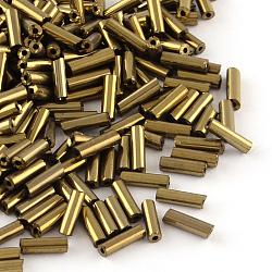 Rocailles tubes en verre plaqué, iris ronde, cuivre plaqué, 4~4.5x2mm, trou: 1 mm; environ 1556 pcs / 50 g(X-SEED-R011-701)