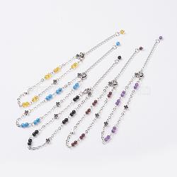 """Bracelets de cheville de pierres précieuses naturelles, avec accessoires en laiton et chaînes en 316 acier inoxydable, 8-5/8"""" (220 mm)(AJEW-AN00224)"""