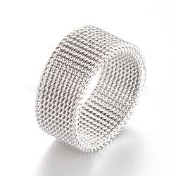 304 inoxydable supports de bague de doigts en acier, couleur inoxydable, 18mm(MAK-R010-18mm)