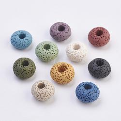 Perles européennes en lave naturelle, teint, Perles avec un grand trou   , plat rond, couleur mixte, 15~16x8.5~9mm, Trou: 4~5mm(G-E477-A)