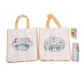 DIY Diamond Painting Handbag Cross Stitch Art Kits, Reusable Shopping Tote Cloth Bag, for Woman Home Organizer Craft, Car Pattern, Light Sky Blue, 53.5x29.3x10cm, 2pcs/Set(DIY-H139-13)