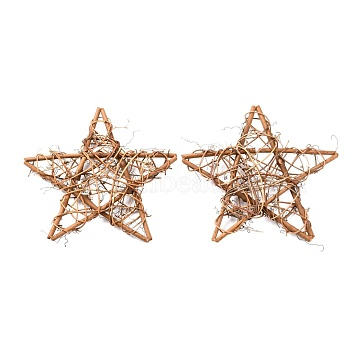 Star Shape Rattan Vine Wreath Garland Decoration, for DIY Easter Christmas Party Decors, BurlyWood, 30.5~31x30.5~31x2.5~2.7cm(DIY-B022-03E)