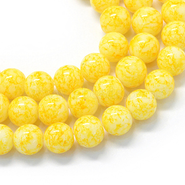 Baking Painted Glass Beads Strands, Round, Champagne Yellow, 8.5~9mm, Hole: 1.5mm; about 105pcs/strand(X-DGLA-Q019-8mm-62)