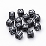 10mm Black Cube Acrylic Beads(SACR-T338-01)