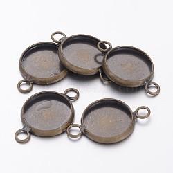 плоские параметров соединителя кабошон круглый латунь скошенных, чашки безель с краем, никель свободный, античная бронза, лоток: 12 мм; 22x14x2 мм, отверстия: 2 mm(X-KK-E058-AB-NF)