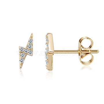 Brass Micro Pave Cubic Zirconia Flash Stud Earrings, Lightning, Clear, Golden, 13.5x7.5x3mm, Pin: 0.8mm (EJEW-BB35393-G)