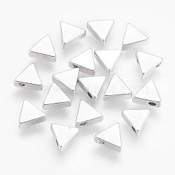 Perles en laiton, sans nickel, triangle, Platine plaqué réel, 7x7.5x3mm, Trou: 1.2mm(KK-F755-41P-NF)