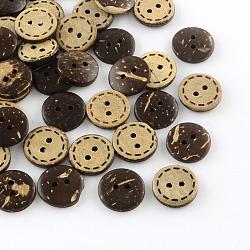 2 -hole boutons de noix de coco plats et ronds, coconutbrown, 15x3mm, Trou: 2mm(X-BUTT-R035-002)