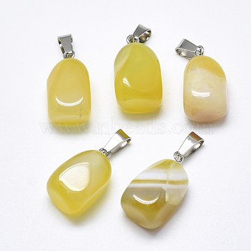 Natural Banded Agate/Striped Agate Pendants, Dyed, with Stainless Steel Snap On Bails, Cuboid, Stainless Steel Color, Champagne Yellow, 20~23x9~13x9~13mm, Hole: 3~4x7~8.5mm(X-G-T122-20E)