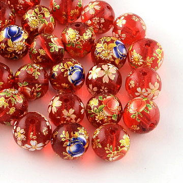 Mixed Flower Picture Printed Glass Round Beads, Red, 12mm, Hole: 1.5mm(X-GFB-R004-12mm-M16)