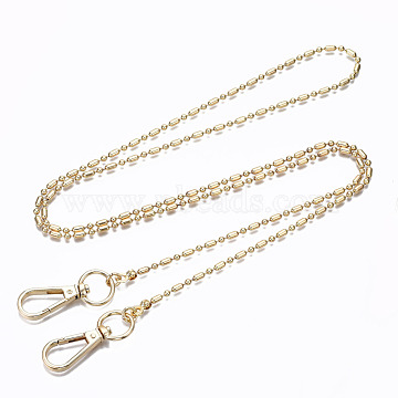 Bag Chains Straps, Brass Ball Chains, with Alloy Swivel Clasps, for Bag Replacement Accessories, Light Gold, 110x0.3cm(KK-S361-009KC)