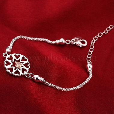 Exquisite Silver Color Plated Brass Cubic Zirconia Flower Link Bracelets(BJEW-BB00819)-4