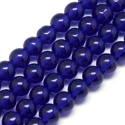 4mm Blue Round Glass Crystal Beads Strands Spacer Beads, about 4mm in diameter, hole: 0.5mm; about 80pcs/strand, 13