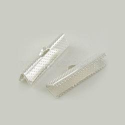 ruban de fer sertir extrémités, couleur argentée, sur 8 mm de long, 16 mm de large, trou: 1 mm(X-E183-S)