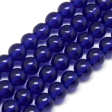 4mm Blue Round Glass Crystal Beads Strands Spacer Beads, about 4mm in diameter, hole: 0.5mm; about 80pcs/strand, 13inches(X-GR4mm25Y)