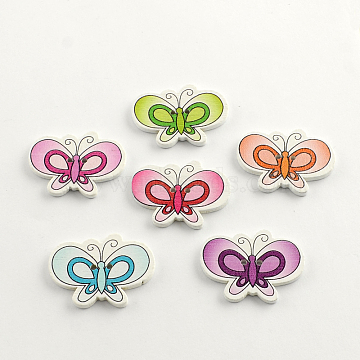 2-Hole Printed Wooden Buttons, Butterfly, Mixed Color, 24x33x2mm, Hole: 2mm(X-BUTT-R031-139)