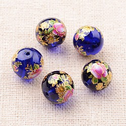 цветочная картина печатные стеклянные круглые бусины, Темно-синий, 12 mm, отверстия: 1 mm(GLAA-J087-12mm-A06)