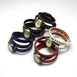 Bracelets de montres en cuir à la mode,  avec cadran de montre en alliage bronze antique , couleur mixte, 610x8x5mm(WACH-M054-M)