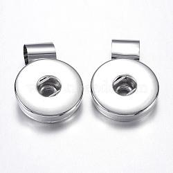 Платина плоский круглый латунь горный хрусталь кулон оснастки материалы, 27x19x8 мм, отверстие: 7 мм; подходят кнопках в 4x6 мм ручка(X-KK-S085-03)
