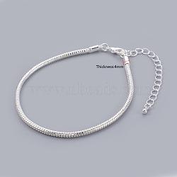 Laiton argenté européen étoffe bracelet de style, avec fermoirs mousquetons en laiton  , environ 19 cm de long (à l'exception de la longueur de fermoir), 3 mm d'épaisseur; fermoir: 12x6x3 mm(X-PPJ003-S)