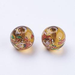 Цветок окрашены стеклянные бусины, круглые, Перу, 10x9 мм, отверстие : 1.5 мм(GLAA-E399-10mm-B08)