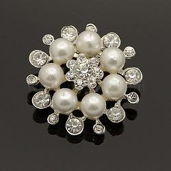 strass alliage de mode broches de fleurs, avec la perle acrylique, argent, 30~32 mm, pin: 19x4 mm(X-JEWB-L001-03)