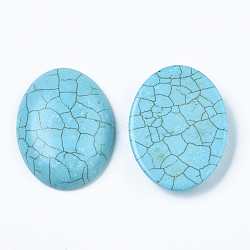 Synthetic Turquoise Cabochons, Dyed, Oval, Sky Blue, 40x30x8mm(X-TURQ-S291-01G-01)