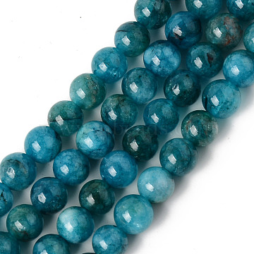 Natural Chalcedony Beads Strands, Dyed & Heated, Imitation Apatite, Round, Teal, 6~6.5mm, Hole: 1mm, about 63pcs/strand, 15.35 inches(39cm)(X-G-R479-6mm-03)