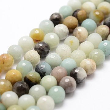 Natural Amazonite Beads Strands, Faceted, Round, 6mm, Hole: 1mm; about 61pcs/strand, 14.9inches~15.1inches(X-G-D840-24-6mm)