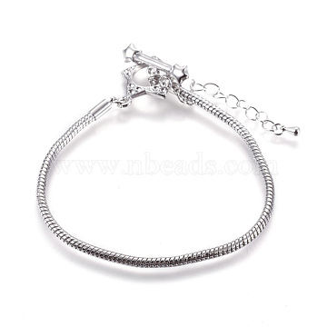 Brass European Style Bracelet Making, with Alloy Toggle Clasps, Platinum Color, about 18cm(excluding the clasp and Adjustable Iron Chain)long, 3mm thick, Adjustable Iron Chain: 6.5cm long(PPJ064)