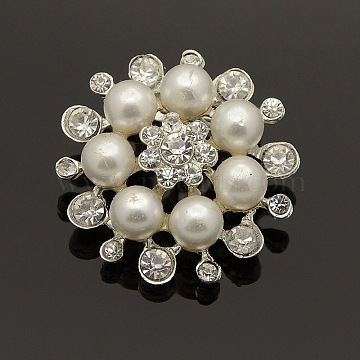 Fashion Alloy Rhinestone Flower Brooches, with Acrylic Pearl, Silver Color Plated, 30~32mm, Pin: 19x4mm(X-JEWB-L001-03)