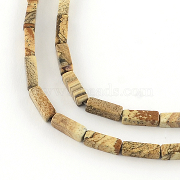 Cuboid Natural Picture Jasper Bead Strands, 11~14x4~5x4~5mm, Hole: 1mm; about 29~31pcs/strand, 15.3inches(G-R299-02)