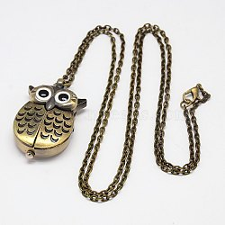Alloy Owl Wing Design Openable Pendant Pocket Watch Necklaces with Iron Chains, Quartz Watch, Antique Bronze, 31.5inches(80cm); Watch: 43x27x12mm(X-WACH-M011-01)