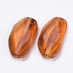 Perles acryliques, ambre d'imitation, facette, chocolat, 31x16x6mm, Trou: 1mm(X-OACR-S016-35)