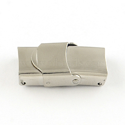 Surface lisse fermoirs de bande de montre 201 en acier inoxydable, couleur inoxydable, 25x10x7mm, Trou: 7x3mm(X-STAS-R063-63)