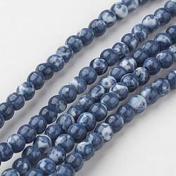 "Chapelets de perle en jade blanc naturel, rond, teint, bleu royal, 4mm, trou: 1mm; environ 104 pcs/chapelet, 15.7"" (400 mm).(G-G916-4mm-05)"