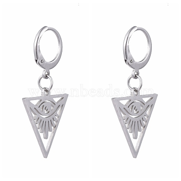 304 Stainless Steel Leverback Earrings, with 201 Stainless Steel Pendants, Triangle with Eye, All Seeing Eye, Stainless Steel Color, 31mm, Pin: 0.6x0.8mm(EJEW-JE04185-03)