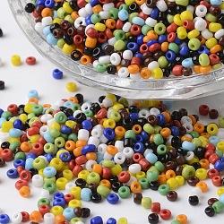 12/0 couleurs opaques perles de graines de verre rond, couleur mixte, 2~3x1.5~2mm, trou: 0.8~1 mm; environ 4100 PCs / sachet (SEED-P002-10)