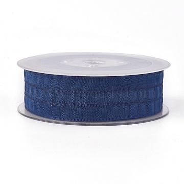 Polyester Ribbon, Tartan Ribbon, Prussian Blue, 1 inches(25mm); about 50yards/roll(45.72m/roll)(SRIB-L040-25mm-A013)