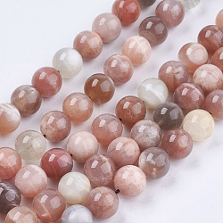 Natural Sunstone Beads Strands, Round, 10mm, Hole: 1mm; about 39pcs/strand, 15.7inches