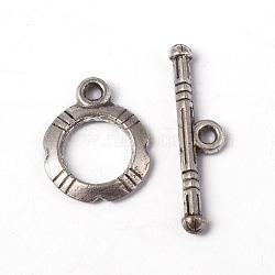 Fermoirs toggle en argent tibétain , argent antique, sans plomb et sans cadmium, anneau: 14.5x12mm; bar: 22x5, Trou: 2mm(X-LF0322Y)