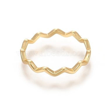 925 Sterling Silver Wavy Rings, Carved 925, Golden, US Size 6(16.5mm), 2.2mm(STER-D033-03A-G)