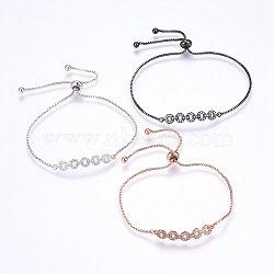 """Bracelets bolo extensibles en laiton avec zircon cubique de micro pavé, Bracelets coulissants, anneau, clair, couleur mixte, 10-5/8"""" (27cm); 1.2mm(BJEW-H583-31)"""