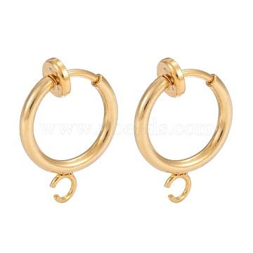 Brass Clip-on Hoop Earring Findings, for Non-pierced Ears, Cadmium Free & Lead Free, Golden, 15.5x11x1.5~4.5mm, Hole: 1.5mm(KK-P102-01G)